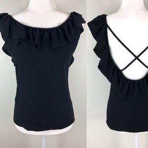Vintage Saint Laurent black open back blouse 0459